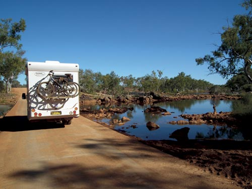 Motorhome crossing river