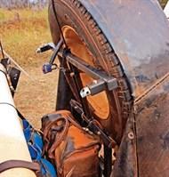 Camper trailer spare wheel storage