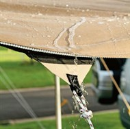 STOP WATER POOLING ON CANVAS AWNING