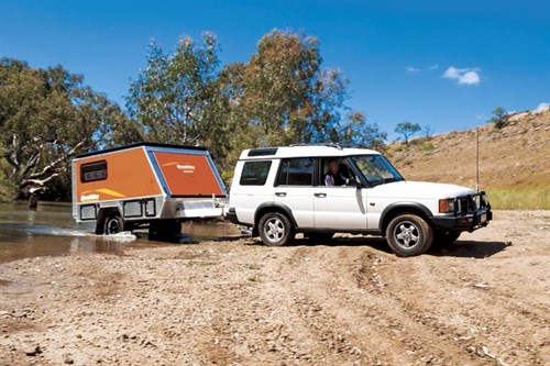 Quokka Toy Hauler camper trailer and tow vehicle