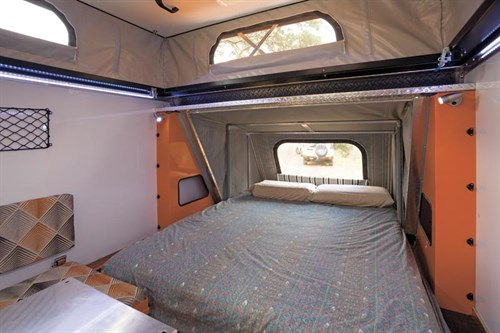 bed interior of the camper trailer Quokka Toy Hauler