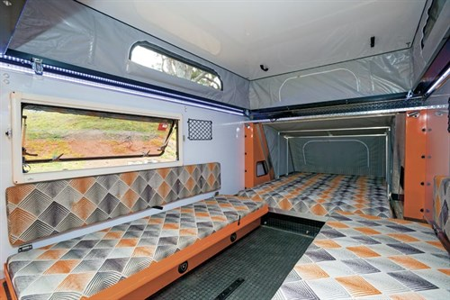 interior living area of the camper trailer Quokka Toy Hauler