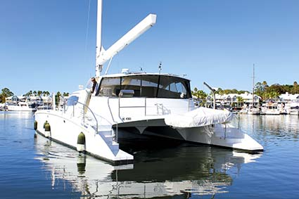 Oram 60ft catamaran anchored