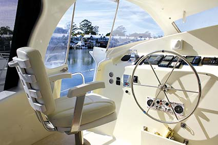 Oram 60ft catamaran helm