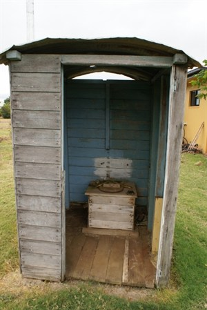 wooden outdoor toilet