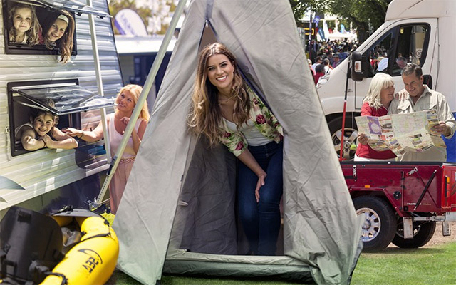 Woman In A Teepee At A Caravan Show