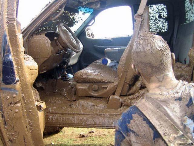 Muddy Man In Car
