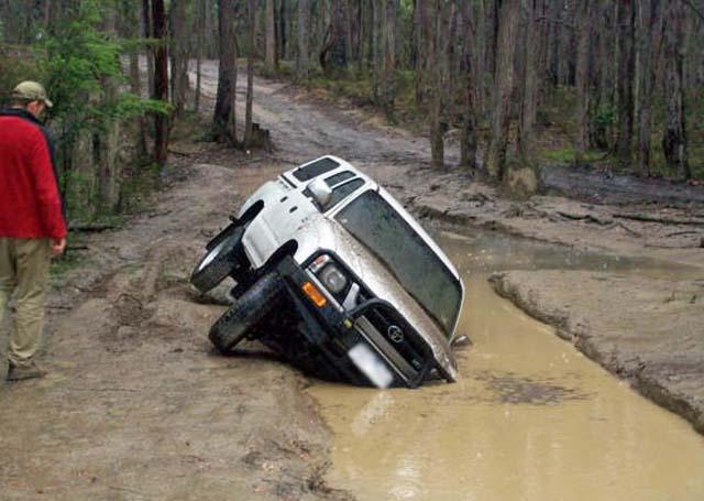 Car On Side In Mud