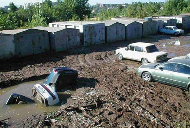 Cars Stuck In The Mud
