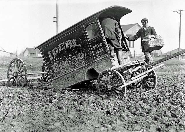 Vintage Car Stuck In Mud