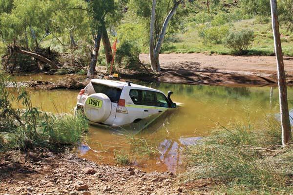 Car In River At Bamboo Creek Near Coppins Gap