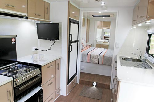 Raised Bedroom Of The Sea Breeze Custom 24 Caravan