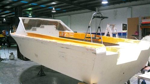 Sanded Haines V19 boat hull