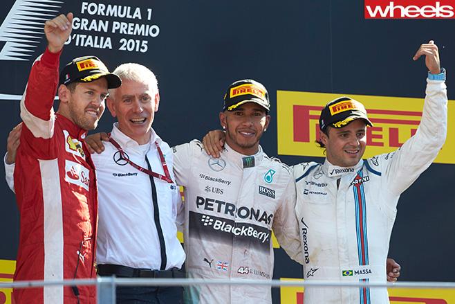Monza -Italy -F1-podium -Lewis -Hamilton -wins
