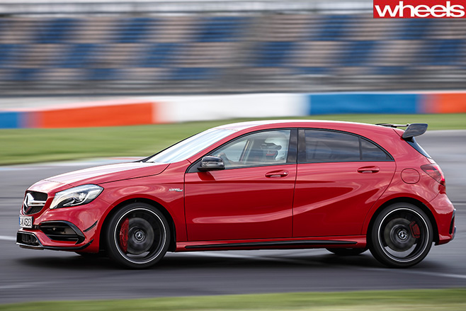 Mercedes -AMG-A45-driving -racetrack -side