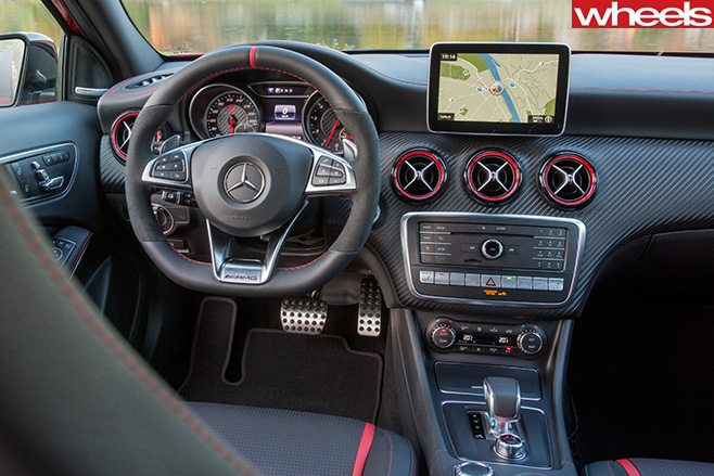 Mercedes -AMG-A45-front -interior -seen -from -rear -seats