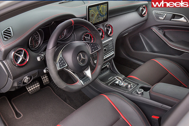 Mercedes -AMG-A45-front -interior -seen -from -passenger -door