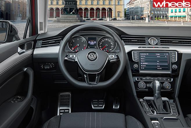 Red -Volkswagen -Passat -Alltrack -interior -cabin-
