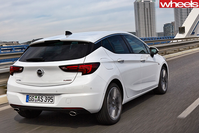 White -opel -astra -rear