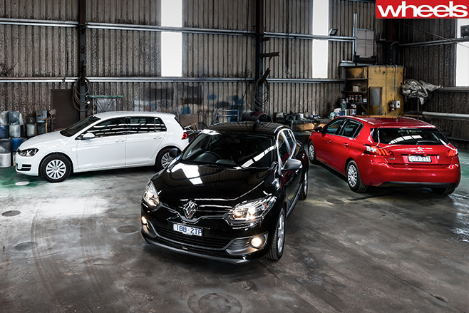 Peugeot -308-Access -v -Renault -Megane -TCe 120-v -Volkswagen -Golf -90-in -garage