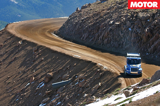 Pikes Peak Super Truck driving