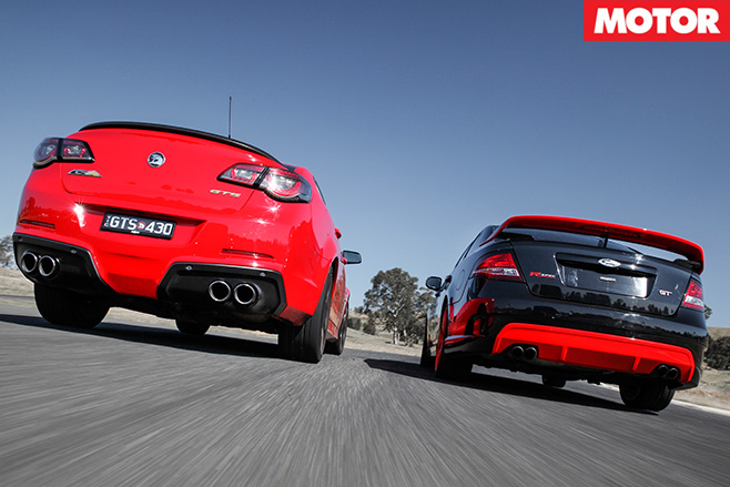 HSV GTS vs FPV GT R-Spec rear