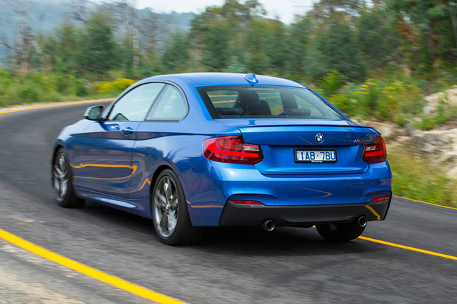 BMW 228i coupe blue rear