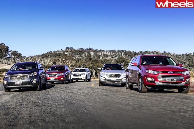 Ford -Territory -v -Hyundai -Santa -Fe -v -Kia -Sorento -v -Nissan -Pathfinder -v -Toyota -Kluger -driving -together
