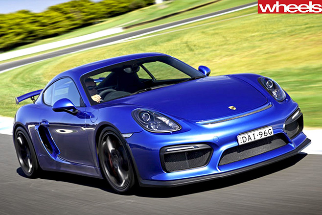 Porsche -Cayman -GT-4-driving -front