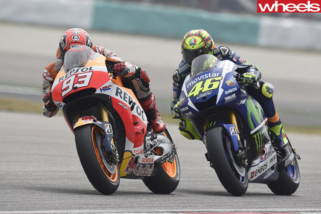 Marquez -leads -Rossi -in Moto -GP