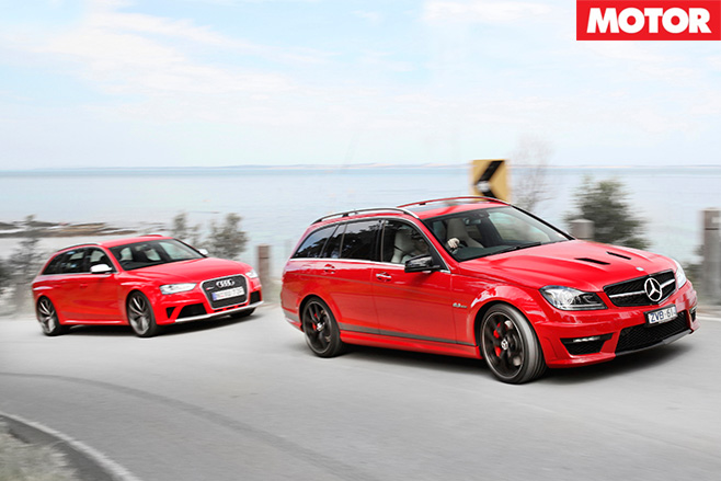 Audi -rs 4-v -Mercedes -C63-507-Estate -driving
