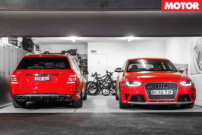 Audi rs4 v Mercedes C63 507 Estate garage
