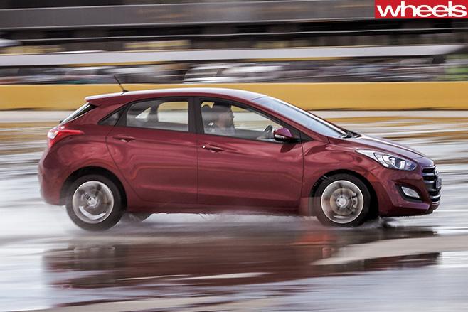 Wheels -tyre -test -car -testing -braking -performance -on -wet -track