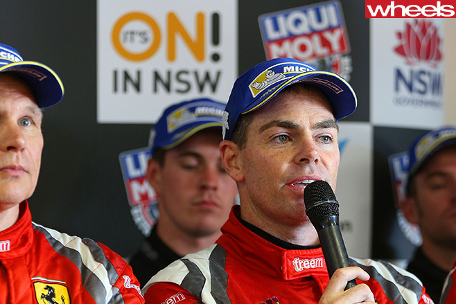 Lownes -V8-Supercars -talking -into -microphone