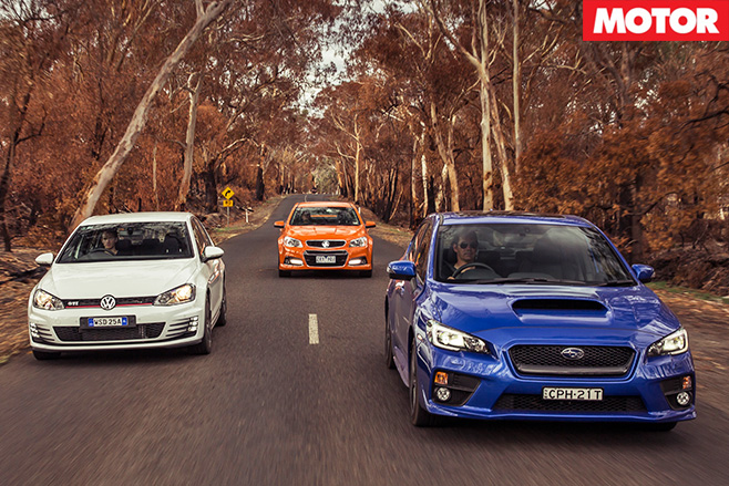 Wrx v commodore ss-v v golf gti driving
