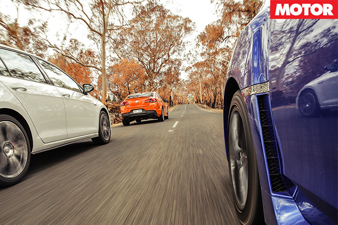 Wrx v commodore ss-v v golf gti driving rear