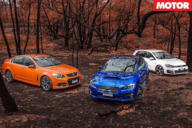 Wrx v commodore ss-v v golf gti still