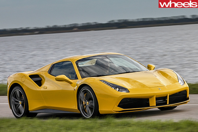 Ferrari 488 Spider Driving Front Side