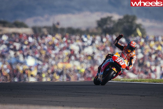 Moto GP-rider -Marc -Marquez -celebrating