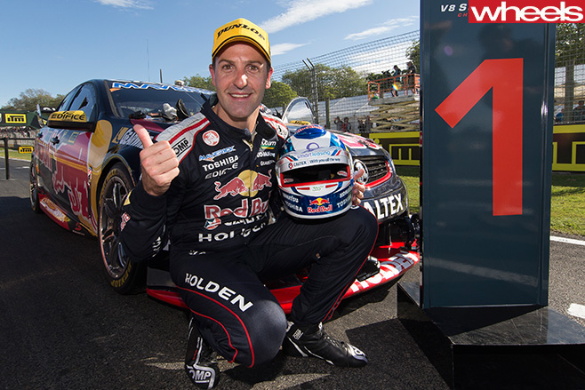 Jamie -Whincup -wins -Bathurst -posing -with -his -car