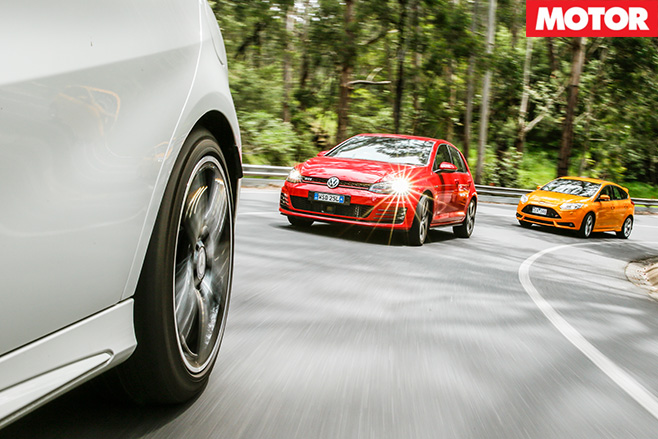 Focus st v golf gti v merc a250 sport driving front