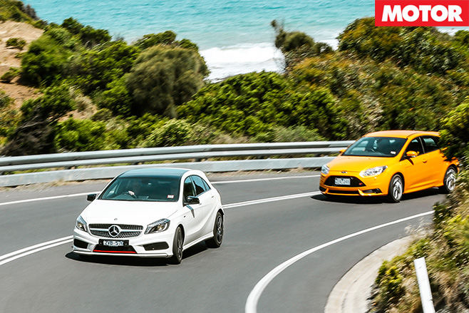 Mercedes a250 v focus st driving