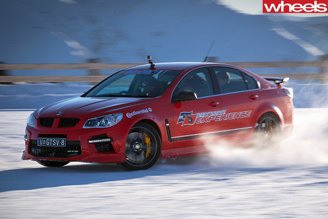 Red -HSV-GTS-Drifting -in -Snow