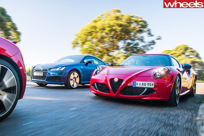Alfa -Romeo -4C-Audi -TT-Peugeot -RC-Z-driving -around -corner