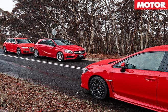 WRX STI vs Audi S3vs A45 AMG still