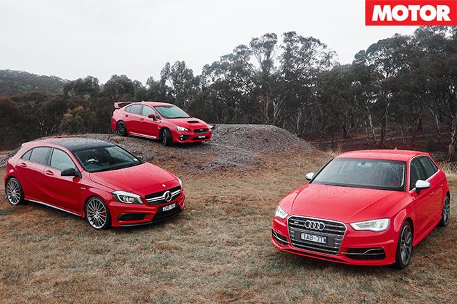 Subaru WRX STI vs Audi S3 vs Mercedes-Benz A45 AMG still