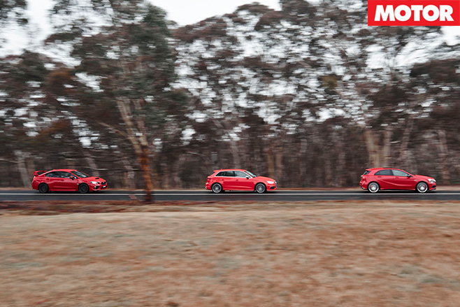WRX STI vs Audi S3 vs A45 AMG driving straight