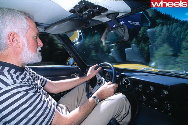 Peter -Robinson -former -wheels -editor -driving -yellow -Lamborghini -Muira