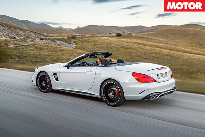 Mercedes Benz SL driving