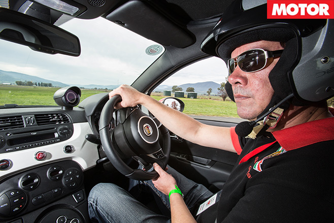Abarth rally driving interior